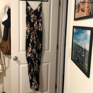 CJLA black floral print full length dress
